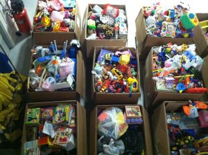 Bins of assorted toys