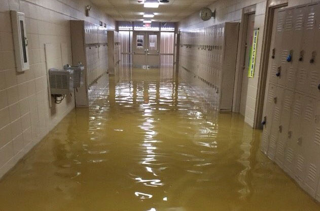 Flooded school hallway