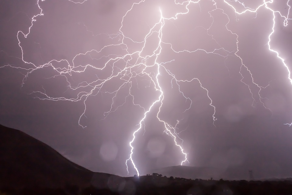 Lightning storm over mountains