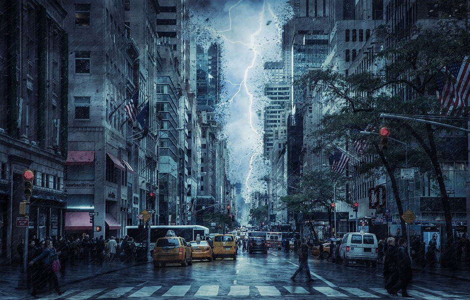 Crowded city street with rain and lightning storm