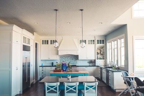 Newly remodeled light and blue kitchen