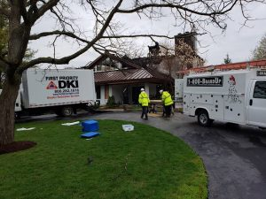 First priority DKI truck at home completing repairs