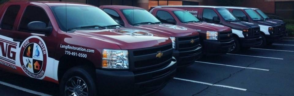 Lang Restoration service trucks and vans fleet
