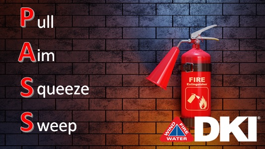 DKI Fire Extinguisher Steps graphic with image of fire extinguisher