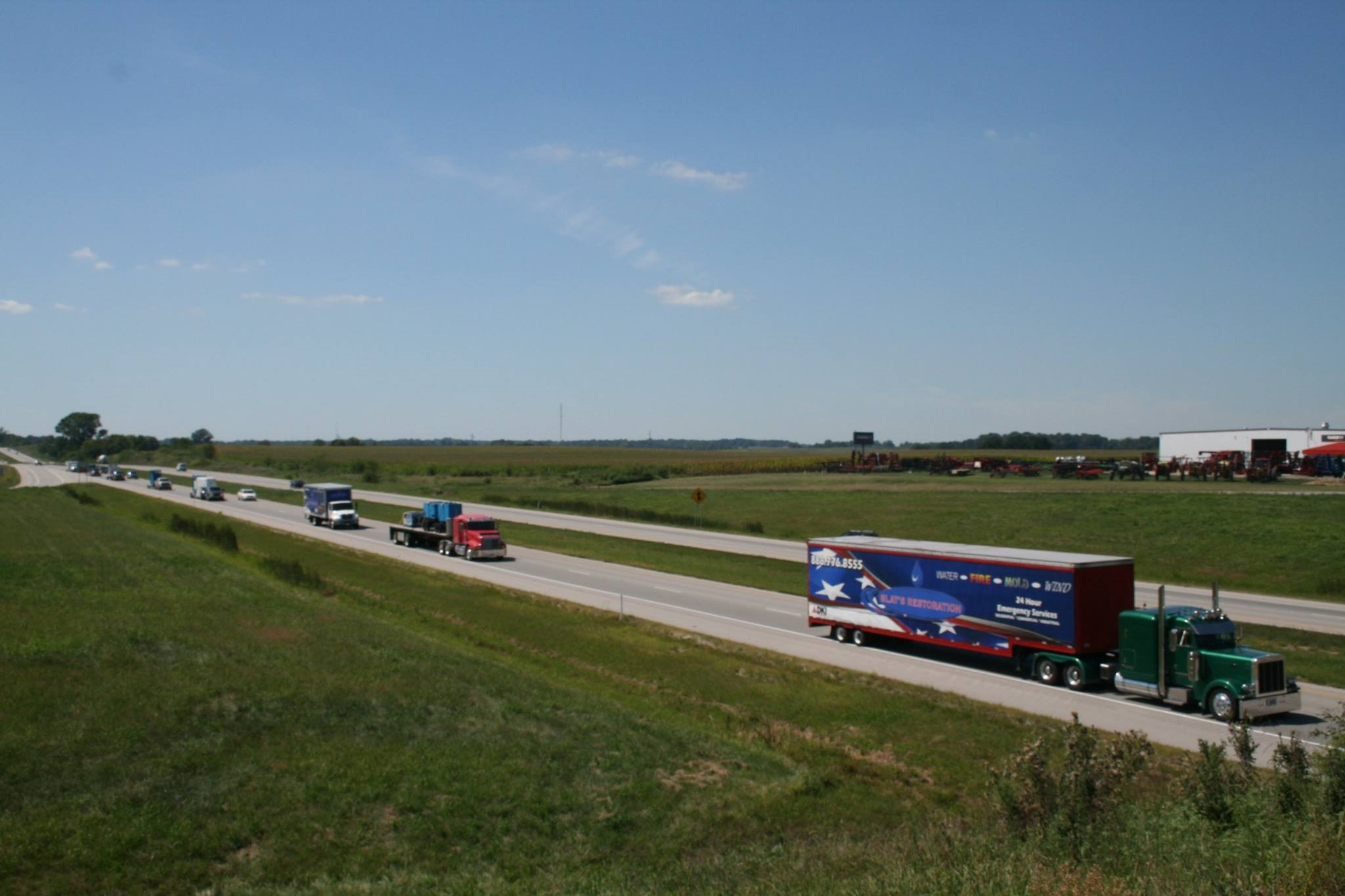 Semi-trailers traveling on the interstate
