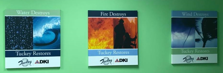 Water Destroys, Fire Destroys and Wind Destroys information cards mounted on wall