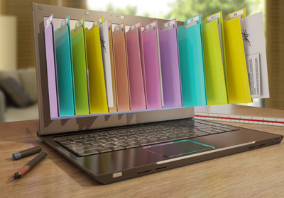 Laptop animation image with colored organizational folders coming out of laptop's screen
