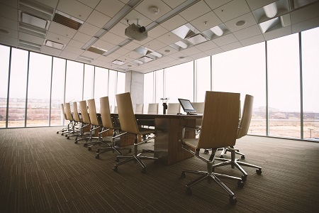 Conference room with floor to ceiling windows