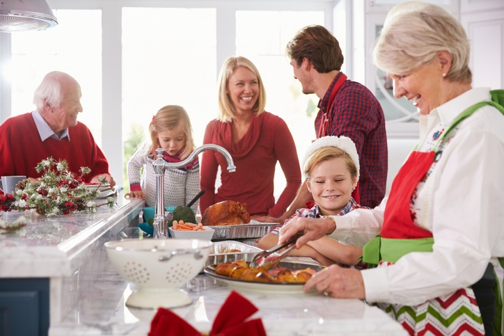 Family preparing a holiday meal