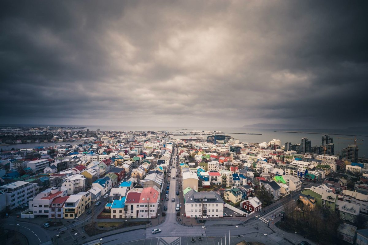 Stormy skies over Iceland town