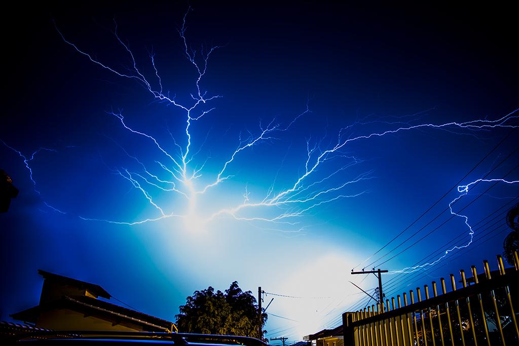 Lightning storm over a business
