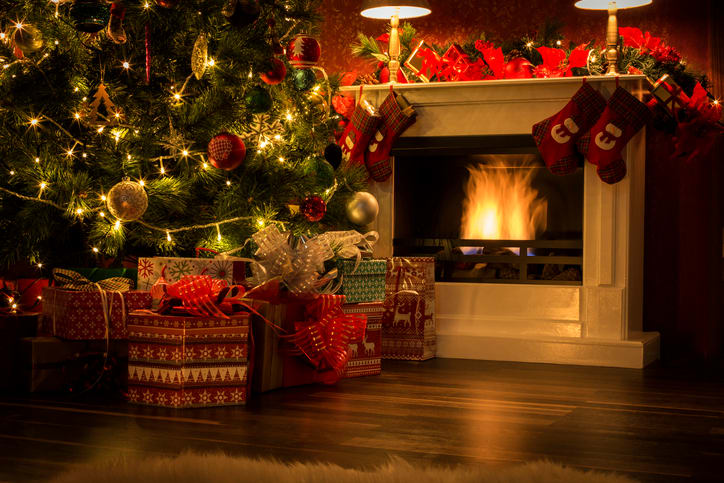 Decorated Christmas Tree with Presents and Fireplace 2