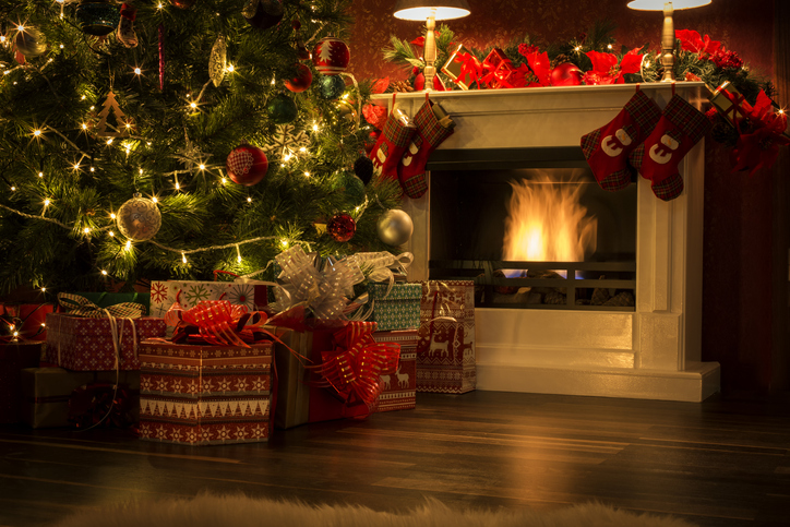 Decorated Christmas Tree with Presents and Fireplace