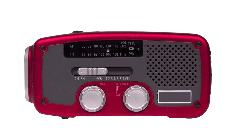 Handheld red and gray emergency weather radio