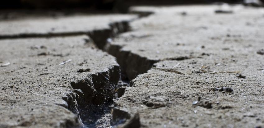 cracked road concrete close up