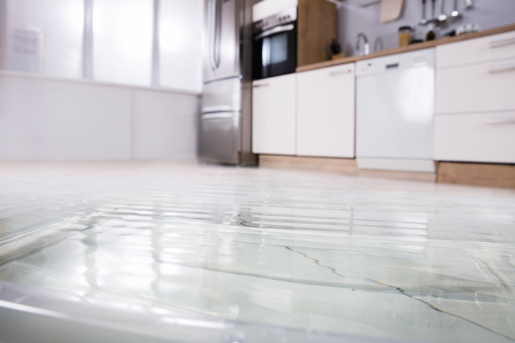 Close-up of flooded floors in kitchen