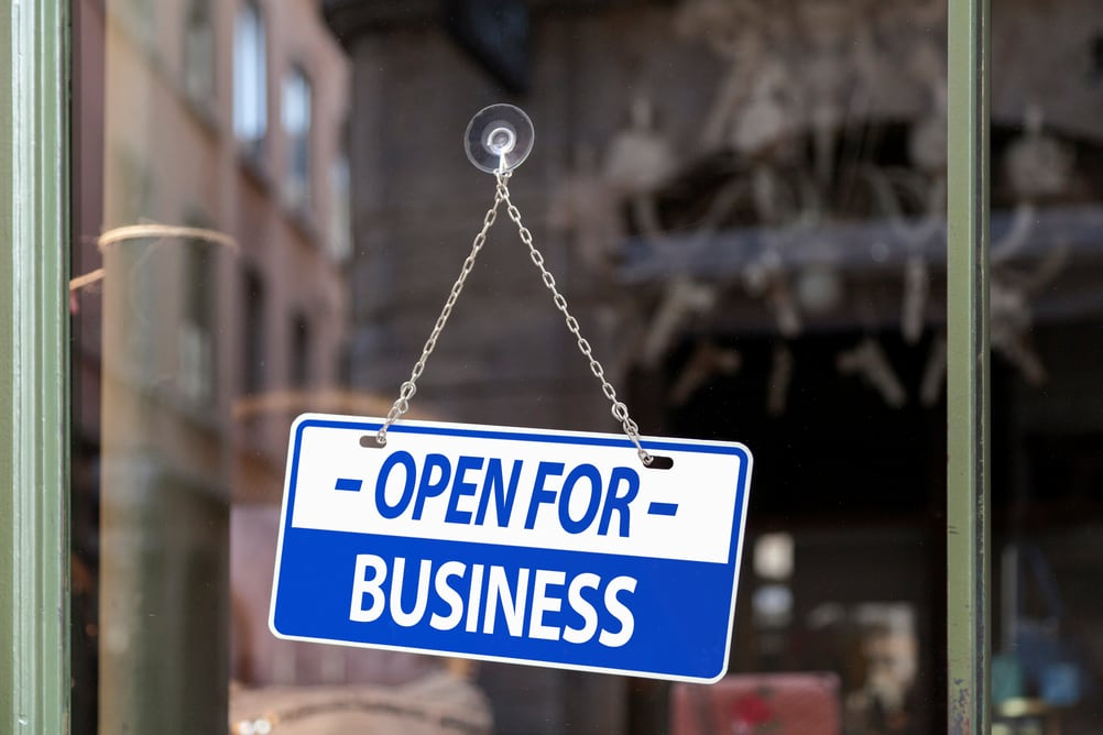 Open for Business sign