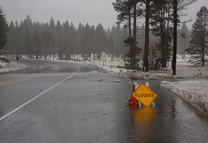 Flooded Sign on the Side of the Road 2