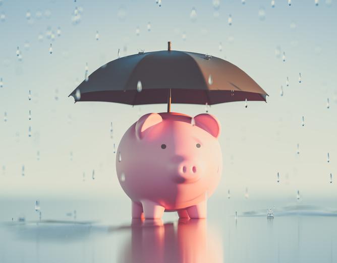 piggy bank and umbrella