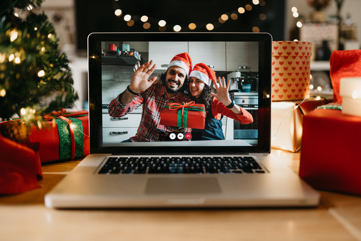 Video call on a laptop screen during Christmas