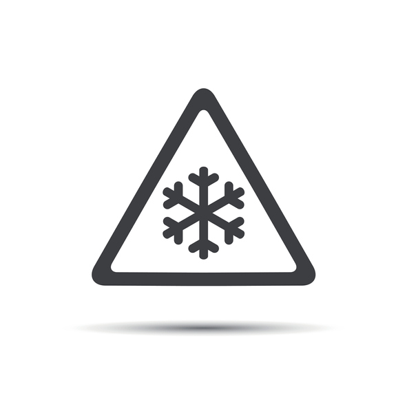 Triangular warning symbol, simple vector illustration of snowflakes
