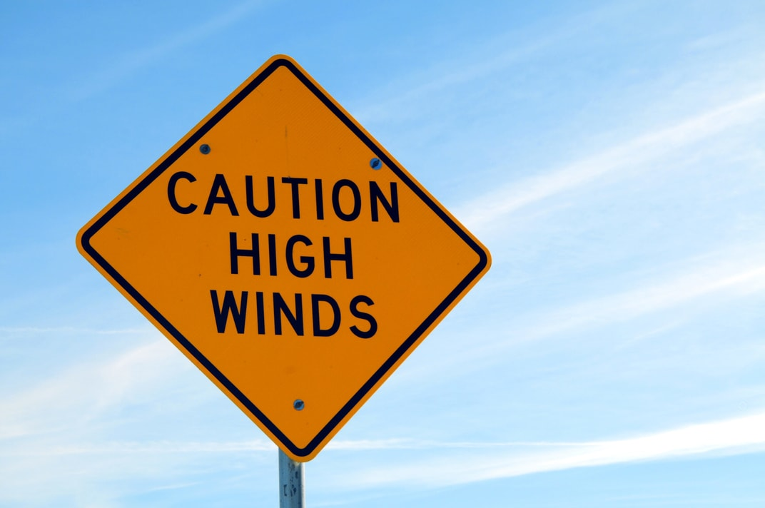 Sign about high winds